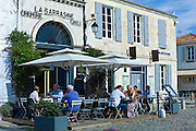Traditional French street cafe, La Sarrasine Creperie and Grill at St Martin de Re,  Ile de Re, France