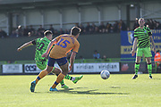 Forest Green Rovers Aaron Collins(10) shoots at goal scores a goal 1-0 during the EFL Sky Bet League 2 match between Forest Green Rovers and Mansfield Town at the New Lawn, Forest Green, United Kingdom on 19 October 2019.