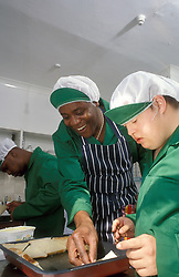 Green Pepper Caf&eacute: training project for people with learning difficulties London UK. Part of College of North East London's offsite literacy and numeracy provision, supported by Haringey Council