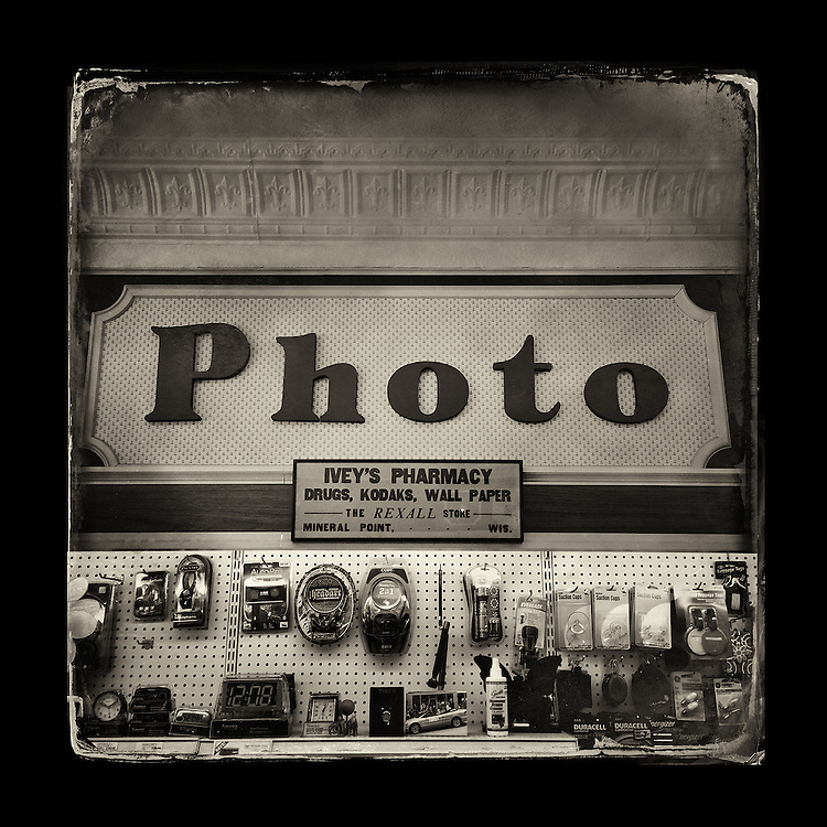 "Charles Blackburn image of Ivey's Pharmacy sign in Mineral Point, WI. 5x5"" print."