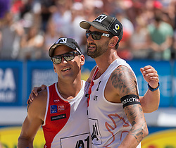 01.08.2015, Strandbad, Klagenfurt, AUT, A1 Beachvolleyball EM 2015, Achtelfinale Herren, im Bild Clemens Doppler 1 AUT / Alexander Horst 2 AUT // during last sixteen Men, of the A1 Beachvolleyball European Championship at the Strandbad Klagenfurt, Austria on 2015/87/01. EXPA Pictures © 2015, EXPA Pictures © 2015, PhotoCredit: EXPA/ Mag. Gert Steinthaler