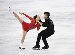 PYEONGCHANG, Feb. 15, 2018  Sui Wenjing (L) and Han Cong of China compete during the pair skating free skating of figure skating at the 2018 PyeongChang Winter Olympic Games, in Gangneung Ice Arena, South Korea, on Feb. 15, 2018. Sui Wenjing and Han Cong won the silver medal in the pair skating event with 235.47 points in total. (Credit Image: © Ju Huanzong/Xinhua via ZUMA Wire)