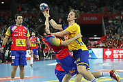Aitor Arino, Alex Dujshebaev (Spain) and Jesper Nielsen (Sweden) during the EHF 2018 Men's European Championship, Final Handball match between Spain and Sweden on January 28, 2018 at the Arena in Zagreb, Croatia - Photo Laurent Lairys / ProSportsImages / DPPI