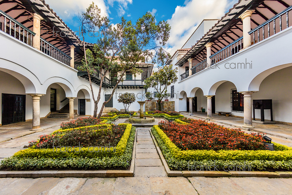 stylish patio courtyard in La Candelaria aera Bogota capital city of Colombia South America