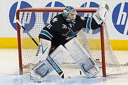 Feb 10, 2012; San Jose, CA, USA; San Jose Sharks goalie Antti Niemi (31) warms up before the game against the Chicago Blackhawks at HP Pavilion. Mandatory Credit: Jason O. Watson-US PRESSWIRE