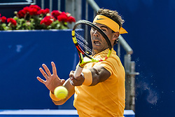 April 25, 2018 - Barcelona, Catalonia, Spain - RAFAEL NADAL (ESP) returns the ball to Roberto Carballes Baena (ESP) during Day 3 of the 'Barcelona Open Banc Sabadell' 2018. Nadal won 6-4,6-4 (Credit Image: © Matthias Oesterle via ZUMA Wire)