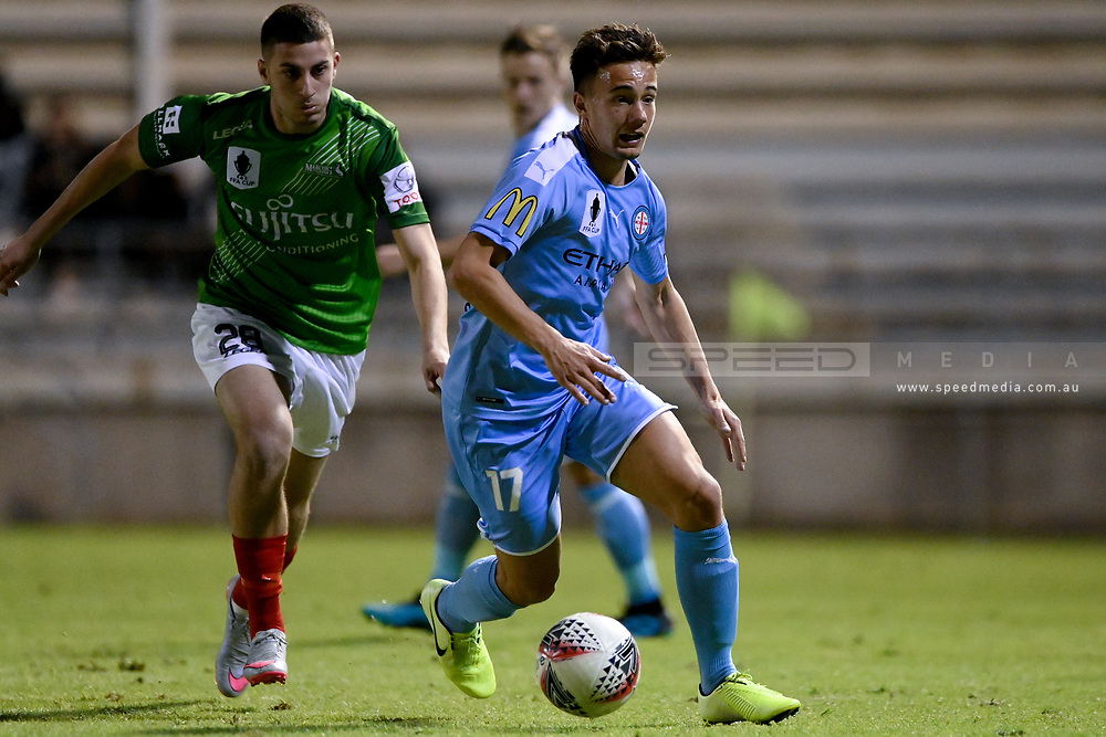 SYDNEY, AUSTRALIA - AUGUST 21: Melbourne City player Denis Genreau (17) controls the ball during the FFA Cup round of 16 soccer match between Marconi Stallions FC and Melbourne City FC on August 21, 2019 at Marconi Stadium in Sydney, Australia. (Photo by Speed Media/Icon Sportswire)