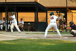 24 June 2016:  Garrett Shea during a  Midwest Collegiate League Baseball game between the Joliet Admirals and the Bloomington Bobcats at American Legion Field in O'Neil Park at Bloomington, Illinois