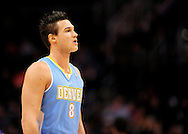 Dec. 22, 2011; Phoenix, AZ, USA; Denver Nuggets forward Danilo Gallinari (8) reacts on the court against the Phoenix Suns during a preseason game at the US Airways Center. Mandatory Credit: Jennifer Stewart-US PRESSWIRE.