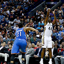 Jan 25, 2017; New Orleans, LA, USA; New Orleans Pelicans forward Solomon Hill (44) shoots over Oklahoma City Thunder forward Andre Roberson (21) during the second half of a game at the Smoothie King Center. The Thunder defeated the Pelicans 114-105. Mandatory Credit: Derick E. Hingle-USA TODAY Sports