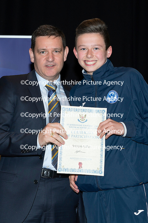 St Johnstone FC Youth Academy Presentation Night at Perth Concert Hall..21.04.14<br /> Chairman Steve Brown presents to Morgan Miller<br /> Picture by Graeme Hart.<br /> Copyright Perthshire Picture Agency<br /> Tel: 01738 623350  Mobile: 07990 594431