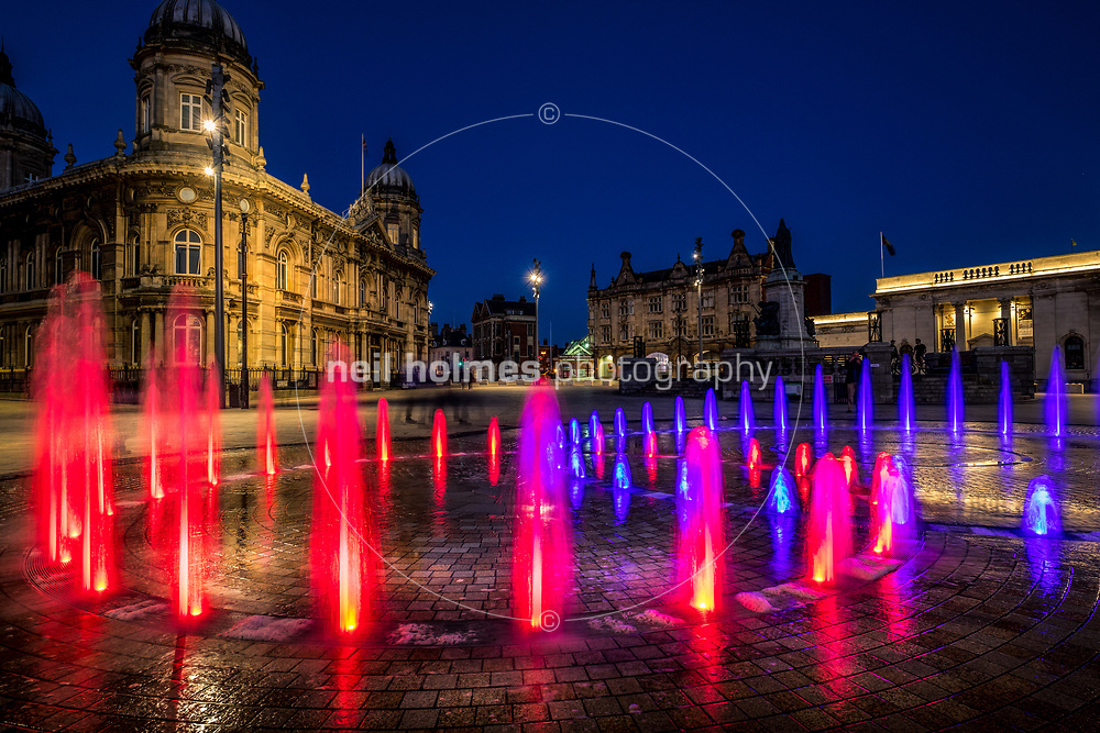 Queen Victoria Square, Kingston Upon Hull, East Yorkshire, United Kingdom, 25 July, 2017. Pictured: Queen Victoria Square dancing fountains, unveiled 30 May 2017 as part of the cities 25million pound city-centre facelift.