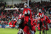 Crusaders horseman before the Investec Super Rugby game between Crusaders v Hurricanes at AMI Stadium, Christchurch. 28 March 2014 Photo: Joseph Johnson/www.photosport.co.nz