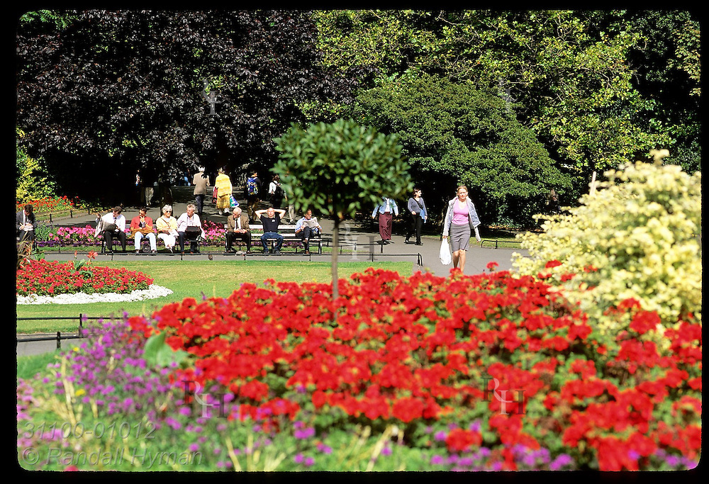 Flowers frame people relaxing on benches at St. Stephen's Green on a September afternoon; Dublin, Ireland.