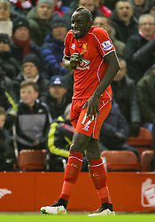 Liverpool's Mamadou Sakho reacts after kicking the ball out of play - Photo mandatory by-line: Matt McNulty/JMP - Mobile: 07966 386802 - 10/02/2015 - SPORT - Football - Liverpool - Anfield - Liverpool v Tottenham Hotspur - Barclays Premier League