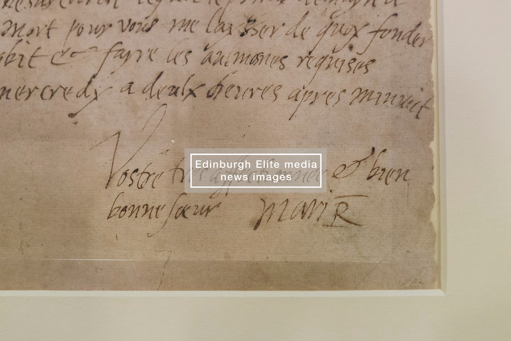 """The last letter of Mary Queen of Scots written just six hours before her execution is on public display at the National Library of Scotland on the 430th anniversary of her death.<br /> <br /> The letter was written at 2am on 8 February 1857 as Mary prepared to meet her death at Fotheringay Castle. Writing to Henri III, King of France, the brother of her first husband, she says """"I am to be executed like a criminal at eight in the morning"""".<br /> <br /> Pictured: The signature of the letter"""