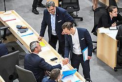 "27.05.2019, Hofburg, Wien, AUT, Sondersitzung des Nationalrates, Sitzung des Nationalrates aufgrund des Misstrauensantrags der Liste JETZT, FPOE und SPOE gegen Bundeskanzler Sebastian Kurz (OeVP) und die Bundesregierung, im Bild v.l. Norbert Hofer (FPÖ), Herbert Kickl (FPÖ), Gernot Blümel (FPÖ) // during special meeting of the National Council of austria due to the topic ""motion of censure against the federal chancellor Sebastian Kurz (OeVP) and the federal government"" at the Hofburg in Wien, Australia on 2019/05/27. EXPA Pictures © 2019, PhotoCredit: EXPA/ Lukas Huter"