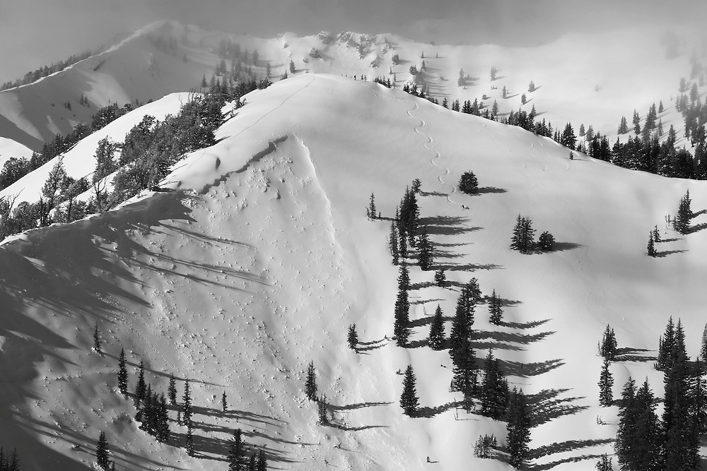 A bold skier descends next to an avalanche that occurred in the West Bowl of Silver Fork, Big Cottonwood Canyon.  The avalanche probably occurred on 12-9-04, the day before the photo was taken.