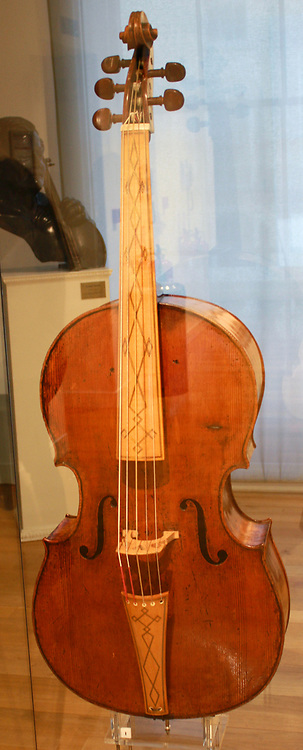 Antonio Amati (1543-1617) and Girolamo Amati (1561-1630). Five-Stringed Cello, Cremona c. 1605. This magnificent cello is the only surviving example of a classical Italian instrument of its type. It is characterized by its wide, squat middle section. The relatively flat front arch contrasts with the fuller contours of the back.