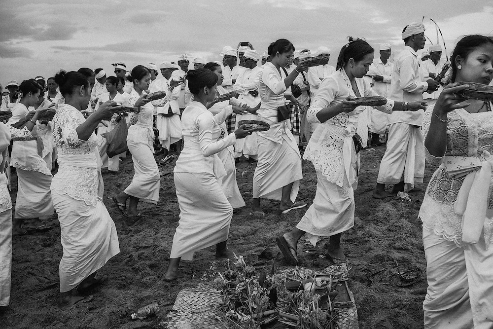 Melasti is a Hindu Balinese purification ceremony and ritual, which according to Balinese calendar is held several days prior to the Nyepi holy day.  Melasti was meant as the ritual to cleanse the world from all the filth of sin and bad karma