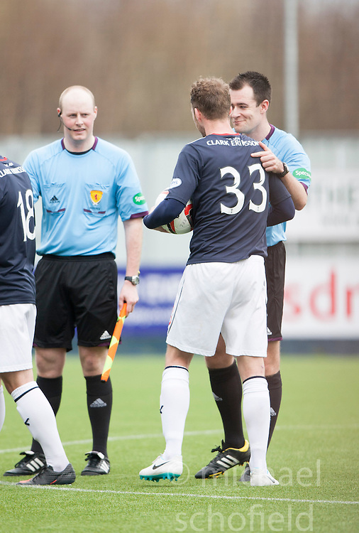 Falkirk's Rory Loy takes the match ball after scoring a hat trick.<br /> Falkirk 5 v 0 Cowdenbeath, Scottish Championship game played today at The Falkirk Stadium.<br /> &copy; Michael Schofield.