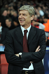 A relaxed Arsene Wenger before the UEFA Champions League First knockout round, First Leg match between Arsenal and A.S. Roma at Emirates Stadium on February 24, 2009 in London, England