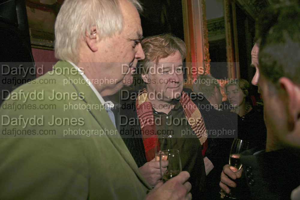 SIR TIM RICE AND CHRISTOPHER SYLVESTER, Literary Review's Bad Sex In Fiction Prize.  In &amp; Out Club (The Naval &amp; Military Club), 4 St James's Square, London, SW1, 29 November 2006. <br />Ceremony honouring author who writes about sex in a 'redundant, perfunctory, unconvincing and embarrassing way'. ONE TIME USE ONLY - DO NOT ARCHIVE  &copy; Copyright Photograph by Dafydd Jones 248 CLAPHAM PARK RD. LONDON SW90PZ.  Tel 020 7733 0108 www.dafjones.com