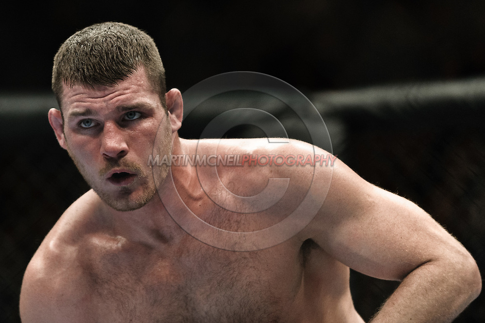 "MANCHESTER, ENGLAND, NOVEMBER 14, 2009: Michael Bisping posts off the canvas at the end of a round during ""UFC 105: Couture vs. Vera"" inside the MEN Arena in Manchester, United Kingdom."