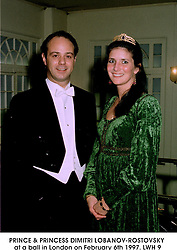 PRINCE & PRINCESS DIMITRI LOBANOV-ROSTOVSKY at a ball in London on February 6th 1997.LWH 9