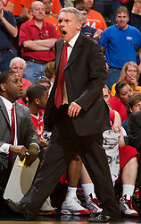 Maryland head coach Gary Williams yells on the sidelines against UVA.  The Virginia Cavaliers defeated the Maryland Terrapins 68-63 at the John Paul Jones Arena on the Grounds of the University of Virginia in Charlottesville, VA on March 7, 2009.