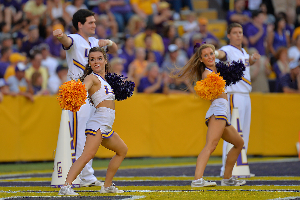 September 27, 2014: LSU Tigers cheerleaders perform before a game between New Mexico State and No. 17/18 LSU at Tiger Stadium in Baton Rouge, LA.