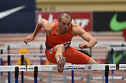 Mar 4, 2017; Albuquerque, NM, USA: Thomas FitzSimons runs 8.53 in the heptathlon 60m hurdles during the USA Indoor Championships at Albuquerque Convention Center.