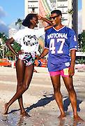 NFC Minnesota Vikings safety Joey Browner (47) smiles as he poses for a photograph wearing NFL beach apparel in front of the Hilton Hawaiian Village Hotel Resort in Waikiki Beach during the week of the 1989 NFL Pro Bowl football game against the AFC on Jan. 26, 1989 in Honolulu. The NFC won the game 34-3. (©Paul Anthony Spinelli)