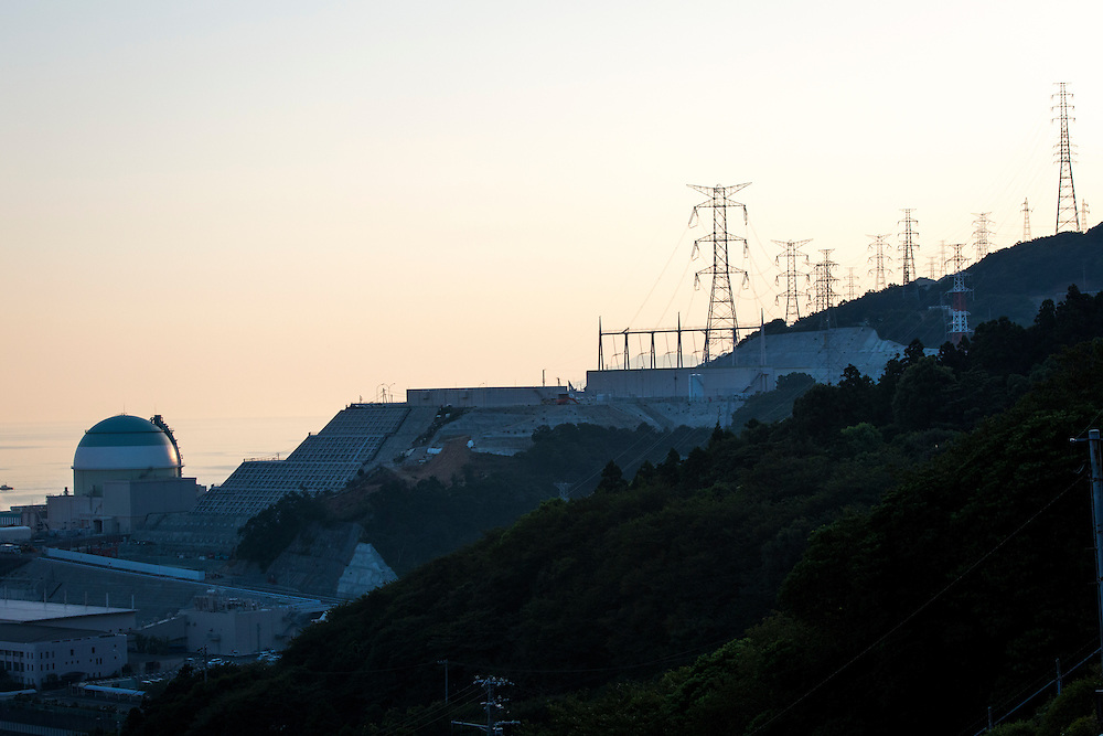 EHIME, JAPAN - AUGUST 12 :  No.3 reactor of Ikata Nuclear Power Plant is seen during the protest against the restarting of a nuclear reactor on August 12, 2016 in Ikata, Ehime prefecture, northwestern Shikoku, Japan. The Shikoku Electric Power Company restarted the plant's No.3 reactor at around 9 AM on Friday. It is the third plant to go online under new regulations issued after the Fukushima Daiichi nuclear disaster. (Photo by Richard Atrero de Guzman/NURPhoto)