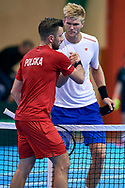 Sopot, Poland - 2018 April 07: (R) Benjamin Lock from Zimbabwe thanks for game to (L) Michal Przysiezny from Poland after Man's Single Match nr 2 during Poland v Zimbabwe Tie Group 2, Europe/Africa Second Round of Davis Cup by BNP Paribas at 100 years of Sopot Hall on April 07, 2018 in Sopot, Poland.<br /> <br /> Mandatory credit:<br /> Photo by © Adam Nurkiewicz / Mediasport<br /> <br /> Adam Nurkiewicz declares that he has no rights to the image of people at the photographs of his authorship.<br /> <br /> Picture also available in RAW (NEF) or TIFF format on special request.<br /> <br /> Any editorial, commercial or promotional use requires written permission from the author of image.