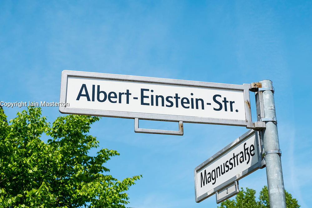 Street sign at Adlershof Science and Technology Park  Park in Berlin, Germany