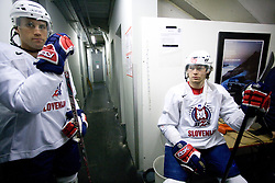 Greg Kuznik and Andrej Hebar at first practice of Slovenian National Ice hockey team before World championship of Division I - group B in Ljubljana, on April 5, 2010, in Hala Tivoli, Ljubljana, Slovenia.  (Photo by Vid Ponikvar / Sportida)