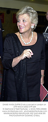 DAME VIVIEN DUFFIELD at a concert in London on 27th March 2002.OYP 228