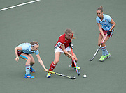 Canterbury's Lizzie Neal under pressure from the Hamburg defence during their opening game of the EHCC 2017 at Den Bosch HC, The Netherlands, 2nd June 2017