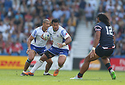 Samoa Ofisa Treviranus (captain) during the Rugby World Cup 2015 match between Samoa and USA at the Brighton Community Stadium, Falmer, United Kingdom on 20 September 2015.