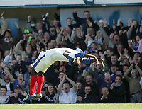 Photo: Lee Earle.<br /> Portsmouth v Blackburn Rovers. The Barclays Premiership. 08/04/2006. Pompey's Lomana Lua Lua celebrates his first half goal in style.