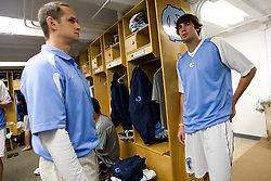 05 April 2008: North Carolina Tar Heels midfielder Cryder DiPietro (48) with assistant coach Greg Paradine before playing the Virginia Cavaliers in Chapel Hill, NC.