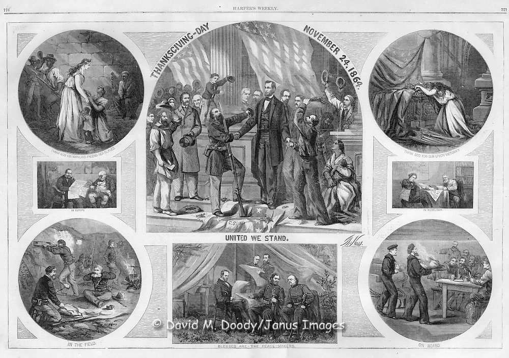 """Thanksgiving Day, 1864,  United We Stand"" Harper's Weekly November , 1864  by Thomas Nast Civil War; Holidays and Celebrations; President Lincoln Elected to second term; freed slaves in Maryland; soldiers in the field"
