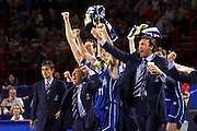 Francia 01/07/1999<br /> Campionati Europei di Basket Francia 1999<br /> Italia-Russia<br /> Esultanza panchina Italia<br /> Dino Meneghin Boscia Tanjevic