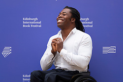 Edinburgh, Scotland, UK. 26 August, 2018. Pictured; Ade Adepitan the Paralympian and TV presenter has a new book based on his own experience of moving to London from Nigeria and how he adapted to life in a new country.