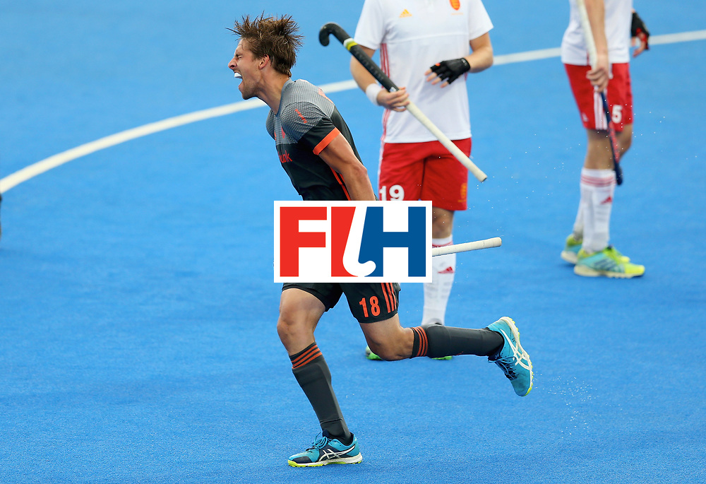 LONDON, ENGLAND - JUNE 24:  Bjorn Kellerman of the Netherlands celebrates scoring their teams second goal during the semi-final match between England and the Netherlands on day eight of the Hero Hockey World League Semi-Final at Lee Valley Hockey and Tennis Centre on June 24, 2017 in London, England.  (Photo by Steve Bardens/Getty Images)
