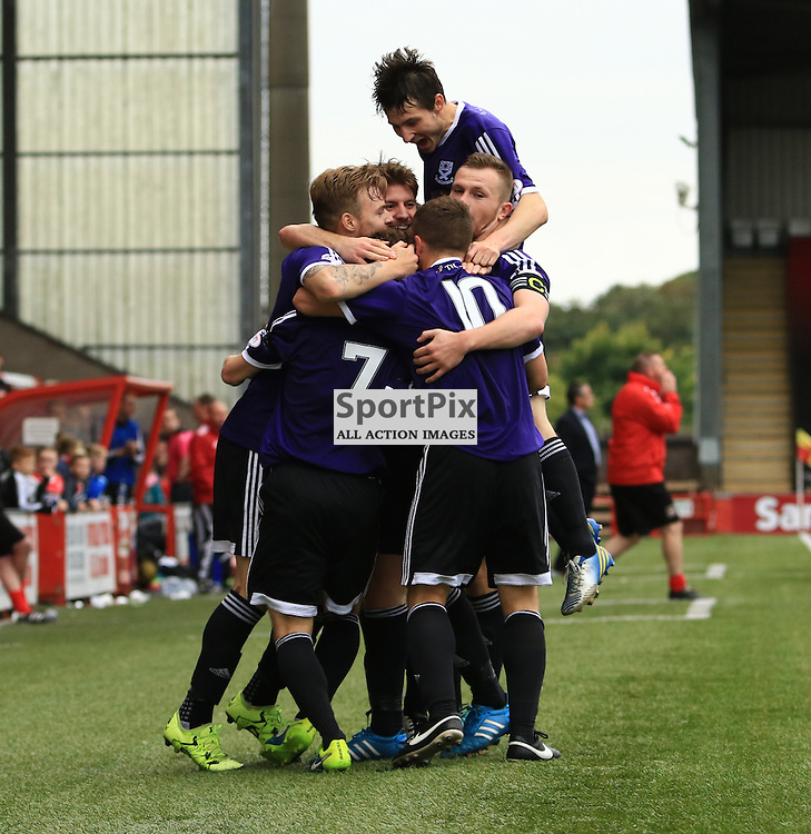 Ayr's Brian Gilmour is mobbed by team mates after putting Ayr United 2-1 up during the Airdrieonians FC V Ayr United FC Scottish League One 19th September 2015 ©Edward Linton | SportPix.org.uk