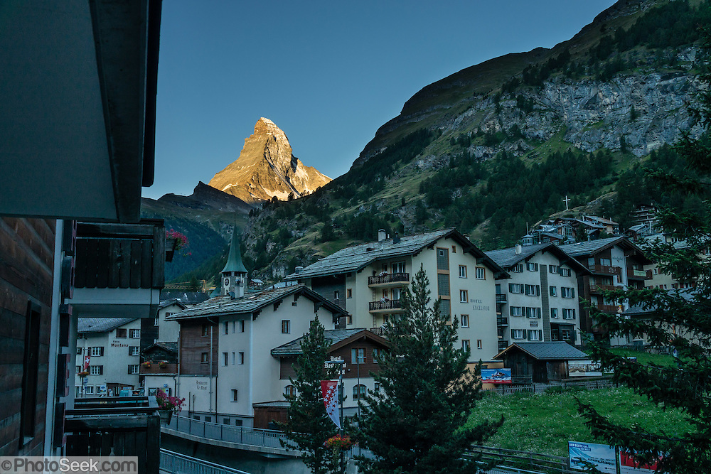 Sunrise on the Matterhorn, seen from City Hotel Garni Zermatt, Pennine Alps, Switzerland, Europe.