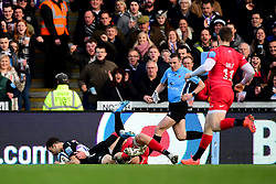 Nic White of Exeter Chiefs beats Nick Isiekwe of Saracens to the ball and scores his sides first try of the game - Mandatory by-line: Ryan Hiscott/JMP - 29/12/2019 - RUGBY - Sandy Park - Exeter, England - Exeter Chiefs v Saracens - Gallagher Premiership Rugby