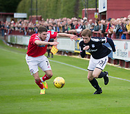 Dundee&rsquo;s Craig Wighton runs at Brechin's Aron Lynas  - Brechin City v Dundee pre-season friendly at Glebe Park, Brechin, Photo: David Young<br /> <br />  - &copy; David Young - www.davidyoungphoto.co.uk - email: davidyoungphoto@gmail.com